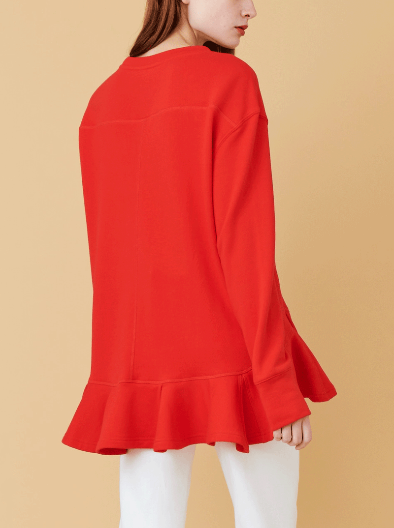RHIE Womens Pleated Hem Sweatshirt in Fire Red, with bottom flounce