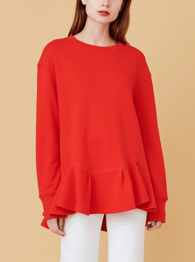 PLEATED HEM SWEATSHIRT, FIRE RED