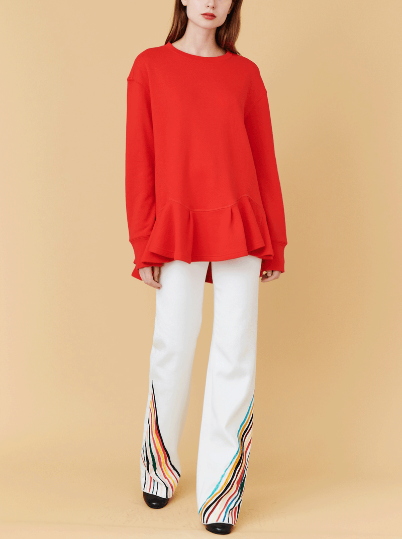 RHIE Womens Pleated Hem Sweatshirt in Fire Red