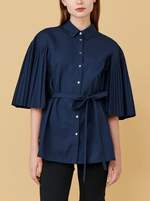 RHIE Womens Designer Long Navy Shirt Top with Pleated Sleeves