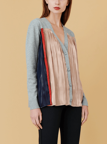 PLISE CARDIGAN, HEATHERED GREY