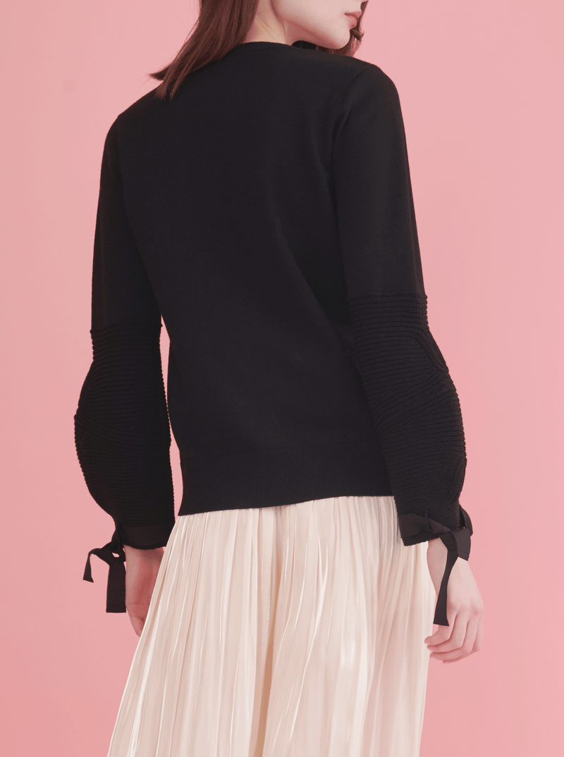 PUFF SLEEVE PULLOVER, BLACK