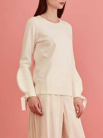 PUFF SLEEVE PULLOVER, CREAM
