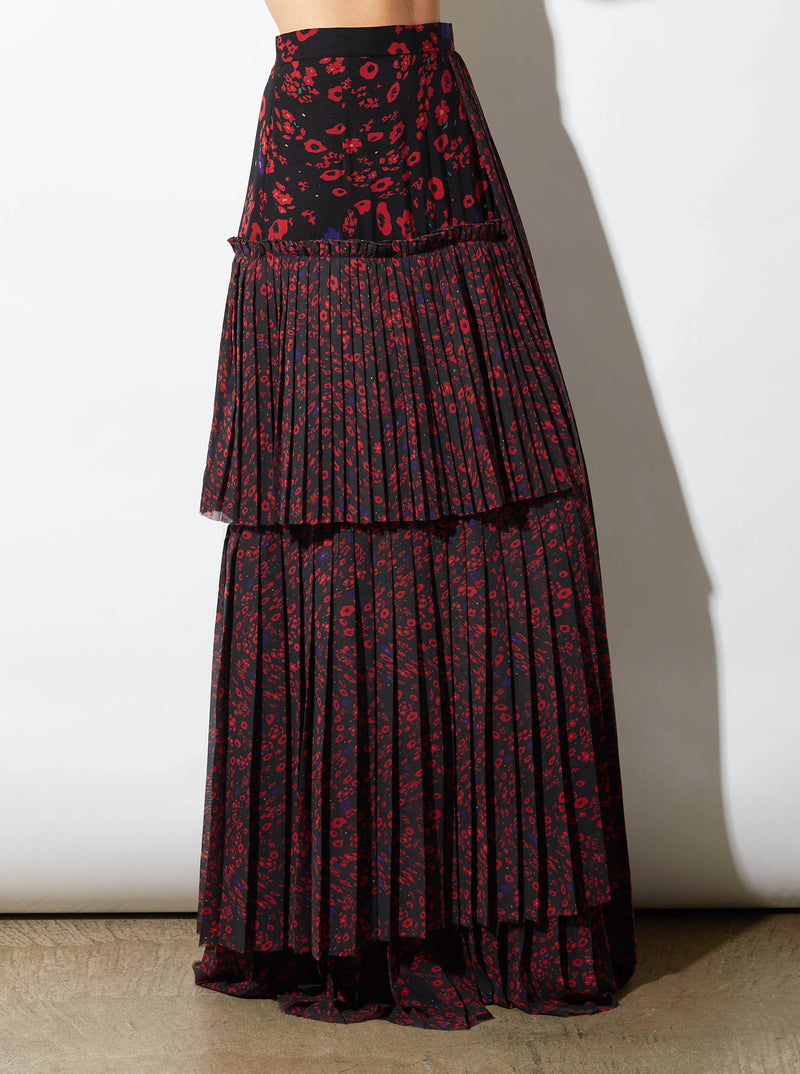 RHIE LAYERED BLACK AND RED LONG PRINTED SKIRT