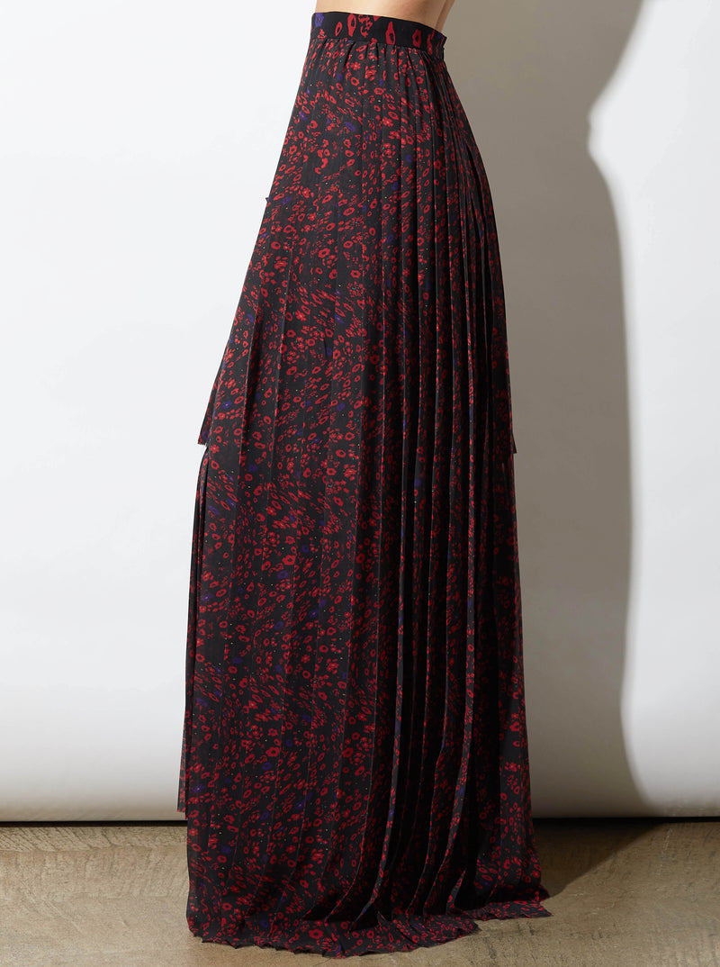 RHIE LAYERED BLACK AND RED PRINTED SKIRT
