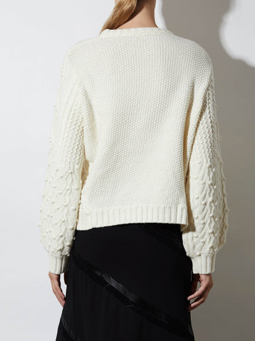 CABLE PULLOVER, OFF-WHITE
