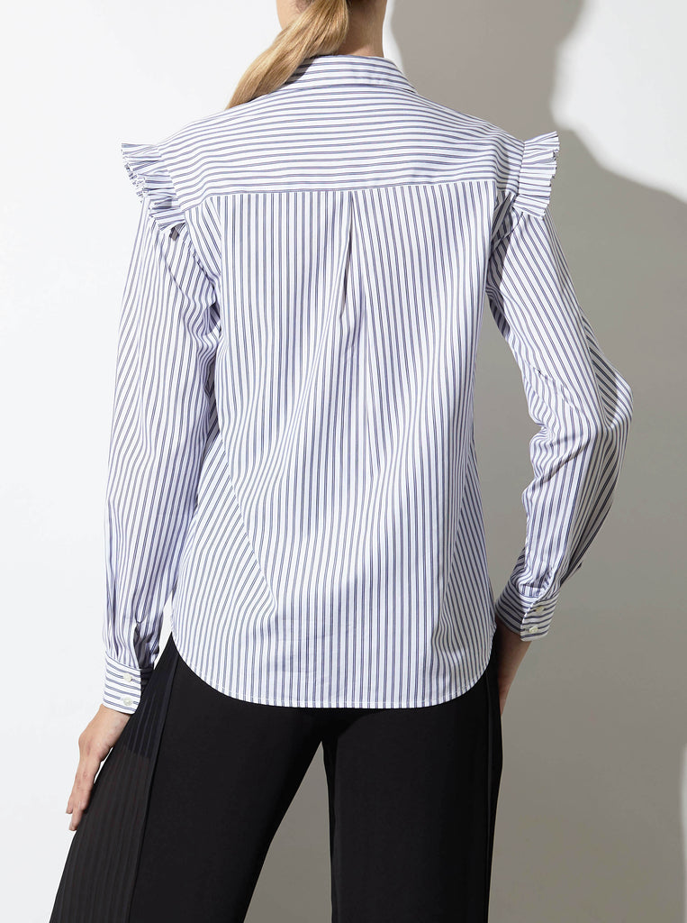 LUCA RUFFLED SHIRT, BLUE STRIPE *CLEARANCE 75% OFF