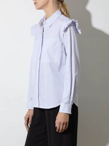 LUCA RUFFLED SHIRT, PINK/BLUE STRIPE