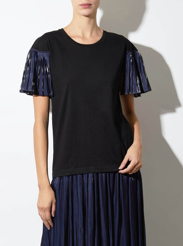 PEPLUM TEE, BLACK AND NAVY