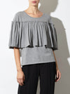 RHIE Womens Designer Grey Pleated Peplum Pope Sweater