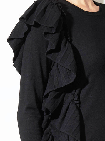 SAINT RUFFLE SWEATER, BLACK