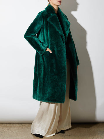 SIMONE SHEARLING COAT, EMERALD *MADE-TO-ORDER