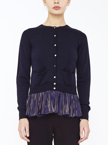 LEA PEPLUM CARDIGAN, NAVY *CLEARANCE 75% OFF
