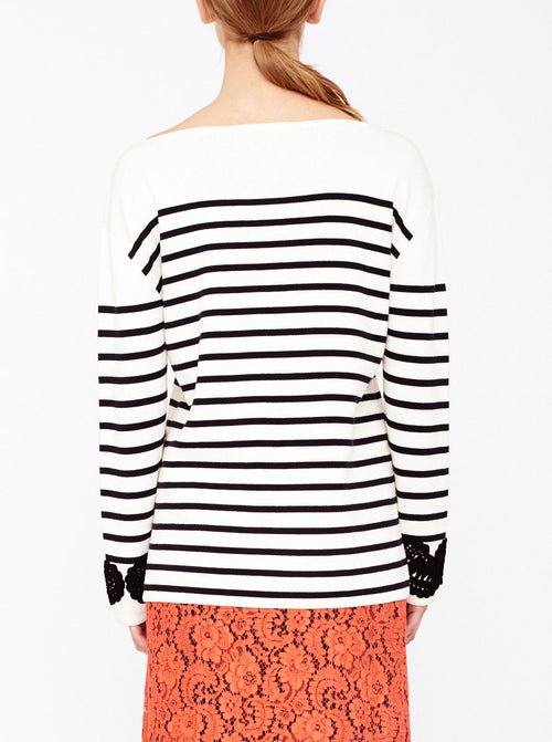 STRIPED PULLOVER WITH PAISLEY CUFF, IVORY