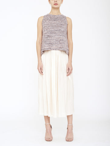 Mina Pleated Skirt, Oyster