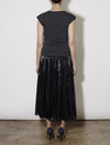 KNIT AND SLIP DRESS, CHARCOAL
