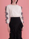 RHIE Womens Designer White Top with Polka Dot Ruffle Sleeves west village boutique