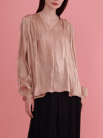 Rhie silky liquid charmeuse blouse in beige from the west village clothing boutique