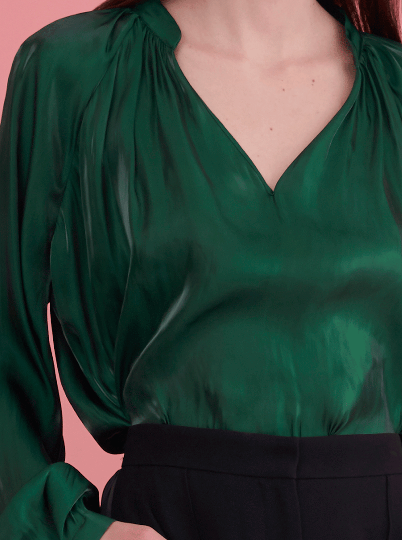 Rhie Suki Blouse Emerald green detail