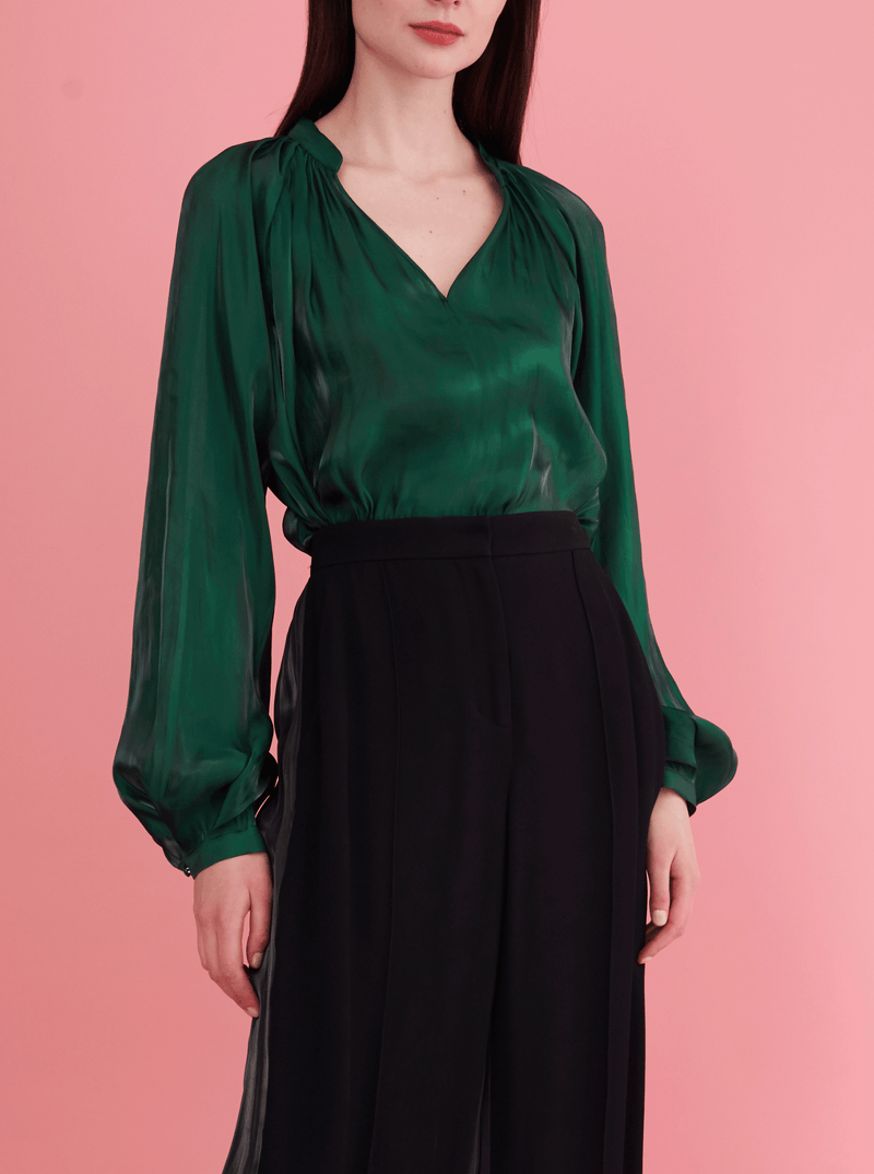 Rhie Suki Blouse Emerald green from the west village clothing boutique