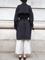RHIE Womens Long Black York Trench Coat in Peached Cotton