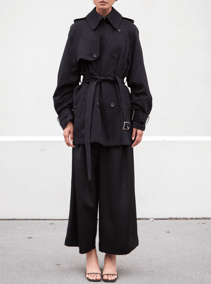 SHORT YORK TRENCH COAT, BLACK