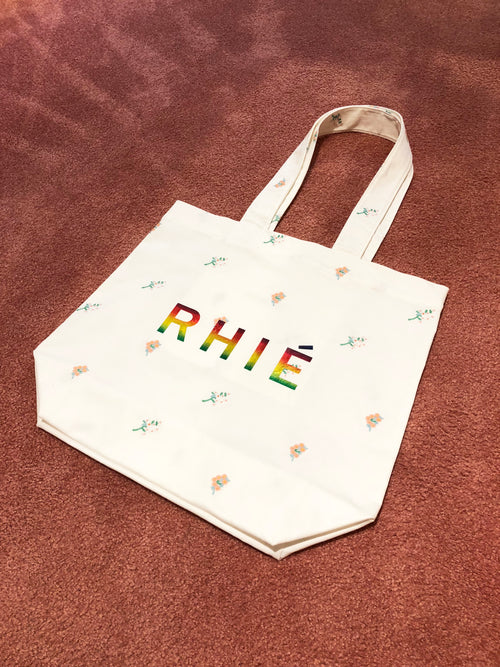 RHIE Womens Designer White Tote Bag with Floral Embroidery