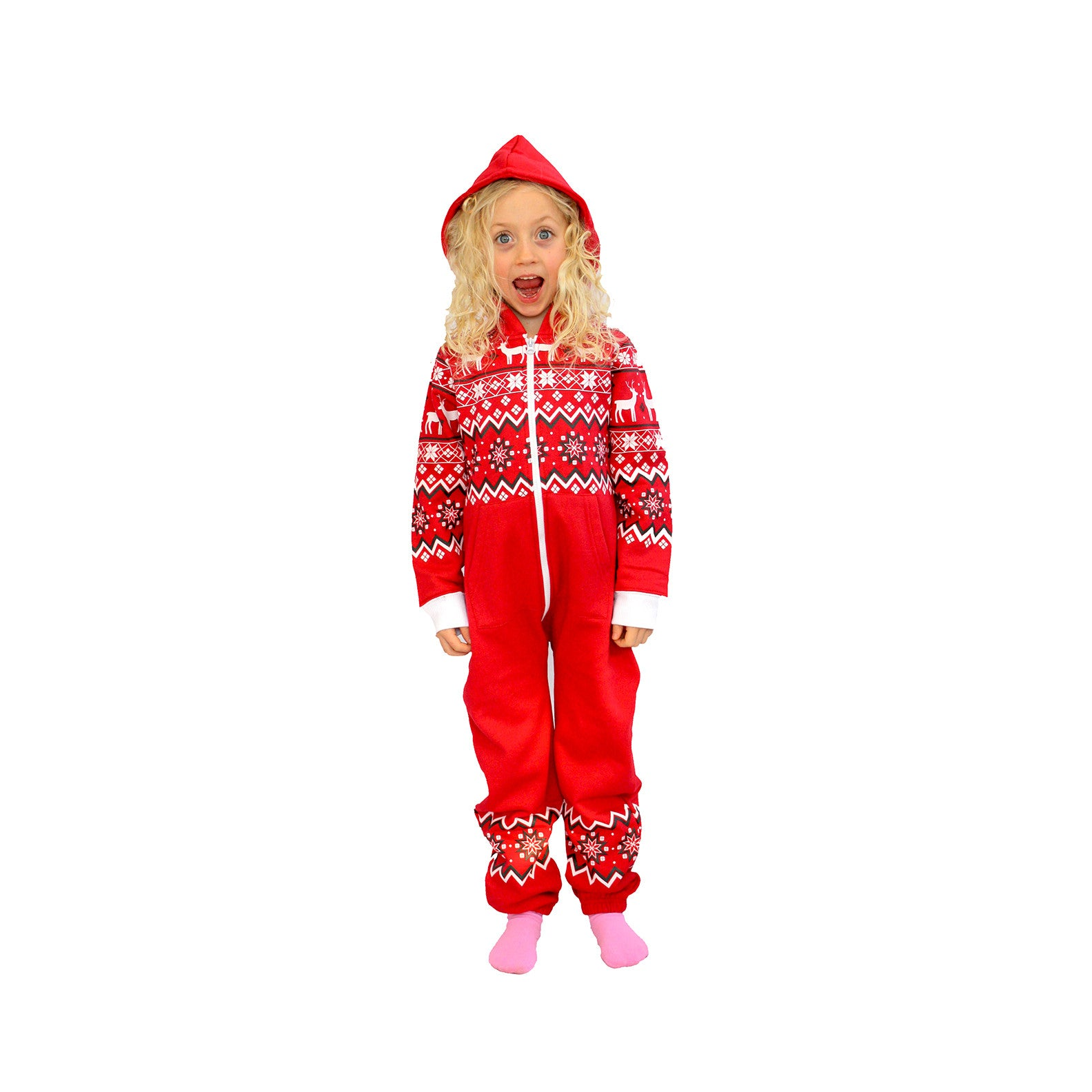 Red Reindeer Kids Hoodie Suits