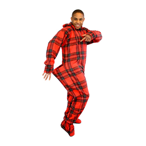 Red Plaid Adult Footed Pajamas