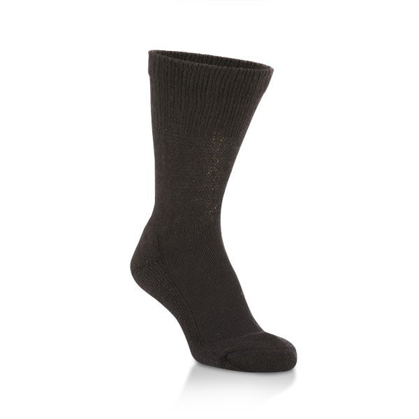 black wide fit crew sock