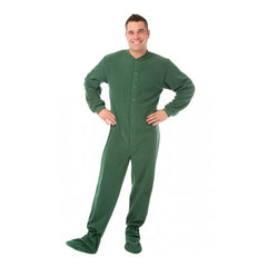 Green Button Up Adult Footed Pajamas