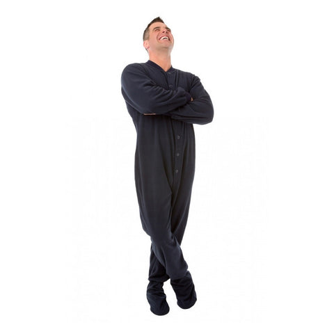 Navy Button Up Footed Pajamas