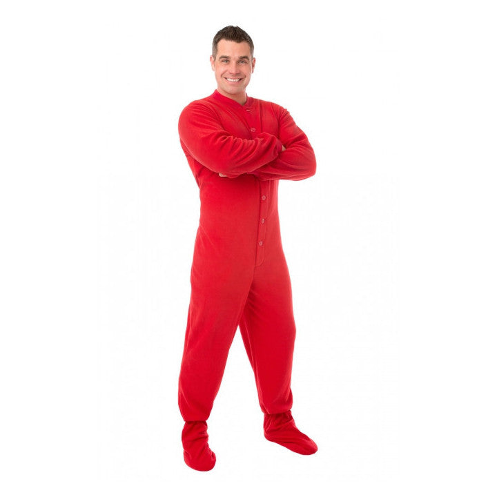 Red Button Up Adult Footed Pajamas