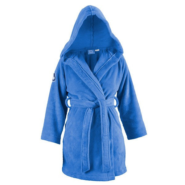 light blue short hooded cozy robe