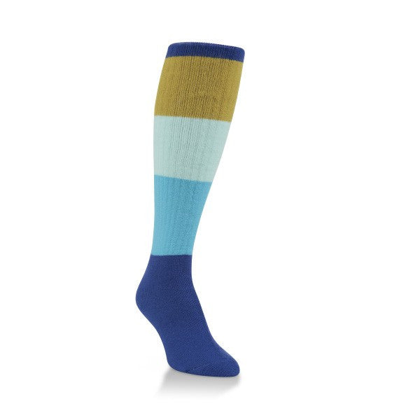 blue block over the calf socks