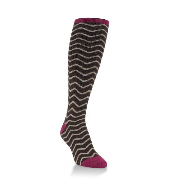 Brown Chevron Classic Over the Calf Sock