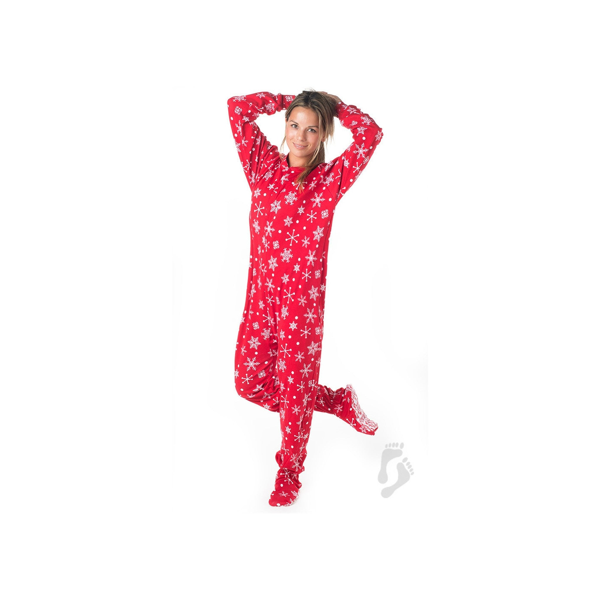 Red and White Snowflake Footed Pajamas