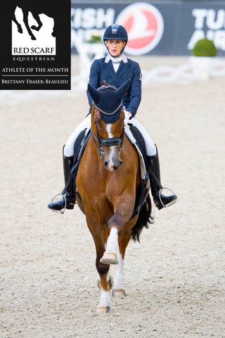 Brittany Fraser-Beaulieu Red Scarf Equestrian and Equestrian Canada Dressage Athlete of the Month