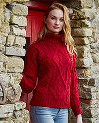 Aran Craft Irish Wool Sweaters on Sale Red Scarf Equestrian Canada