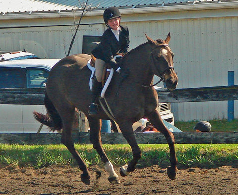 Samantha King's daughter Katie on Tinker - Jokers Hill Horse Shows - Red Scarf Equestrian Canada