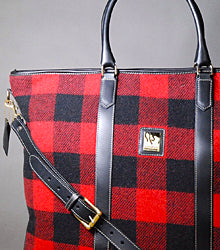 Weekender Leather Trimmed Handbag in Buffalo Wool Plaid Buy Online Red Scarf Equestrian Lifestyle