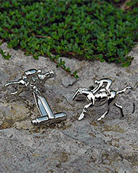 Silver Cuff Links Race Horse Red Scarf Equestrian Lifestyle