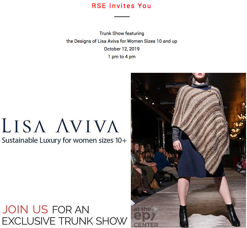 Exclusive Trunk Show featuring the designs of fashion designer Lisa Aviva for women sizes 10 plus at Red Scarf Equestrian