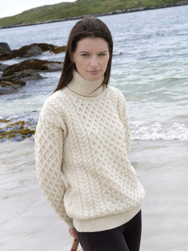 Irish Aran Wool Sweaters for Women made in Ireland:  Roll Polo Neck Sweater made from Merino Wool in Ireland. Buy online at Red Scarf Equestrian Canada