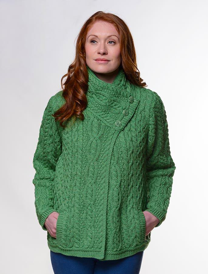 Irish Aran Wool Sweaters for Women made in Ireland:  Three Button Jacket made from Merino Wool in Ireland. Buy online at Red Scarf Equestrian Canada