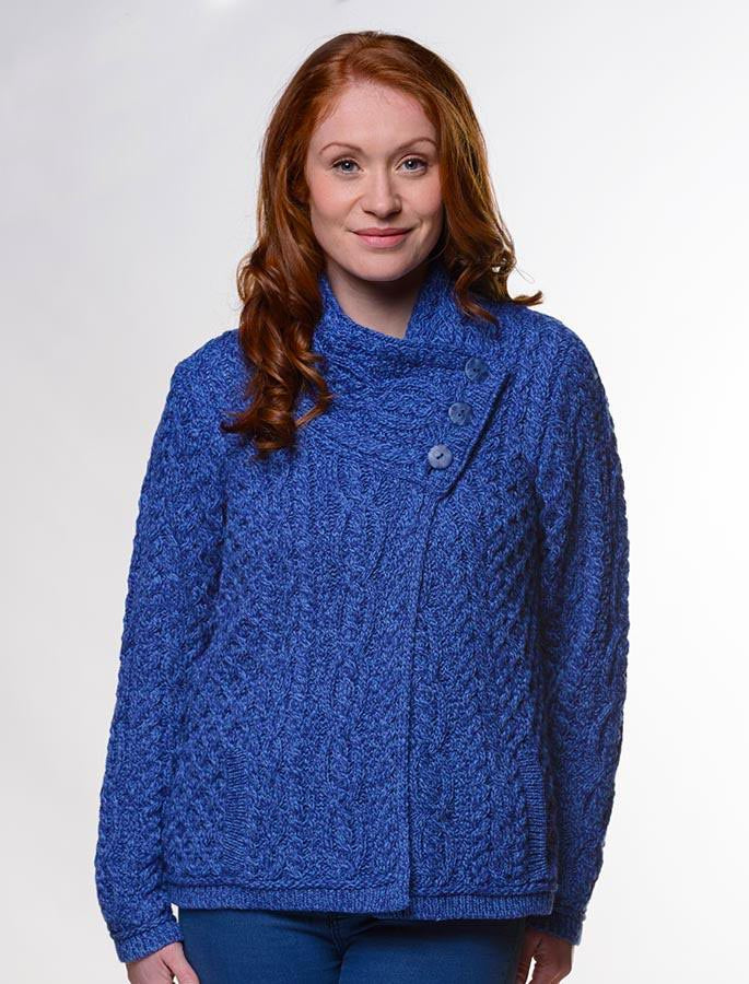 c19ac7fb73 Irish Aran Wool Sweaters for Women made in Ireland: Three Button Jacket  made from Merino