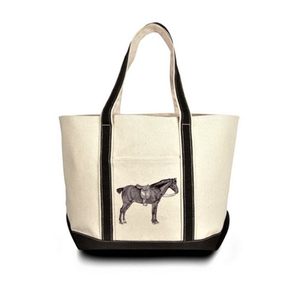 Off White Horse and Saddle Equestrian Canvas Tote Bag