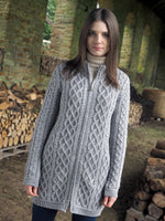 Load image into Gallery viewer,  Aran Wool Sweaters for Women: Long Plated Zip Coat made from Merino Wool in Ireland. Buy online at Red Scarf Equestrian Canada
