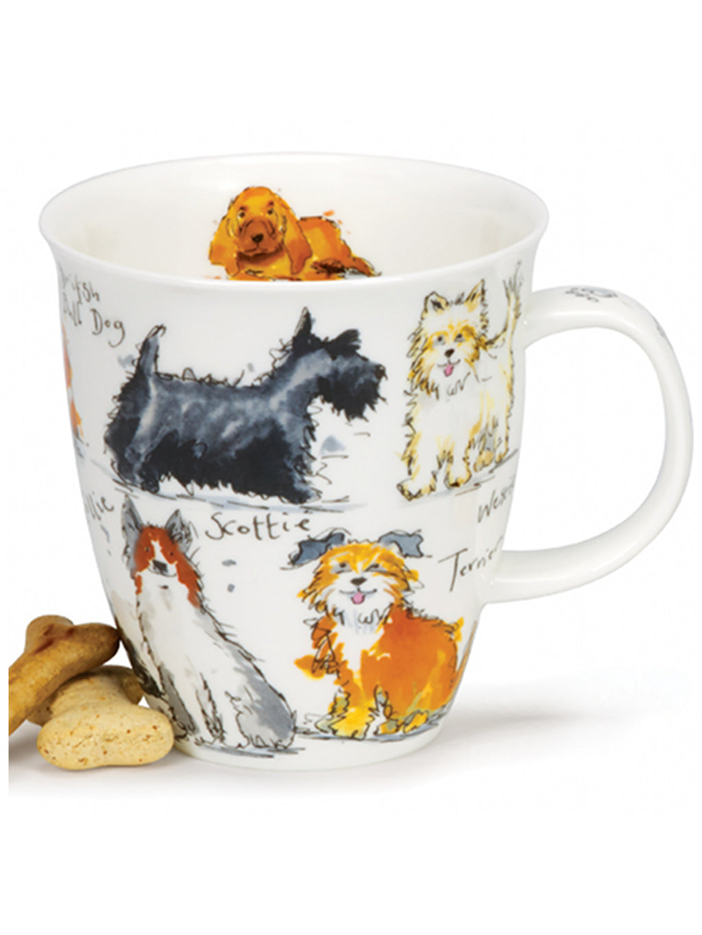 Buy Dunoon Mugs in Canada: Dunoon Mugs: Nevis Messy Dogs Fine Bone China - Red Scarf Equestrian