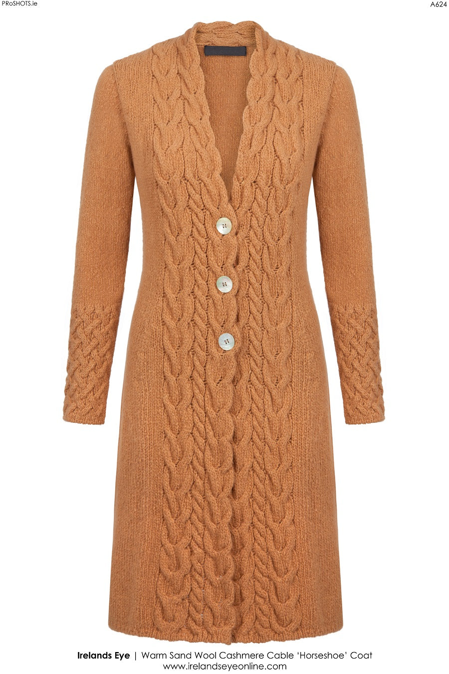 Ladies Knitted Horseshoe Cable Coat – Warm Sand